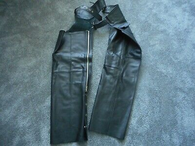Men's Large Genuine Leather Motorcycle Chaps Black Used For Riding