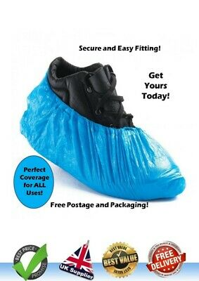 Blue Disposable Shoe Cover Pack 100 Overshoes Anti Slip Plastic Boot Safety
