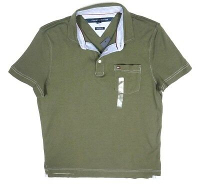 New Tommy Hilfiger Grape Leaf Green Custom Fit Jake Tipped Jersey Polo Size Xs