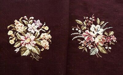 Vintage Preworked Burgundy Floral Needlepoint Canvas Hiawatha Heirloom Two Piece