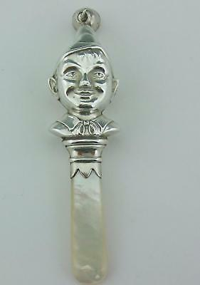 Vintage Large Solid Silver English Pixie Baby Rattle 1936