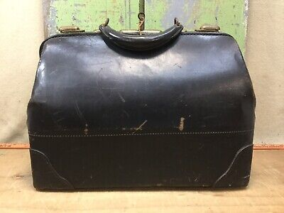 Vintage Medical Doctors Bag, Black Leather, W/ Key, Bangor Maine