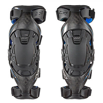 Pod MX POD K8 KNEE BRACES CARBON/BLUE (PAIR) Brace Set
