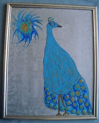 """Peacock!""  Original acrylic painting signed by Carla Dancey"