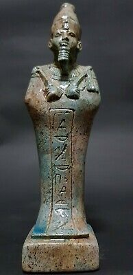 RARE ANTIQUE ANCIENT EGYPTIAN OSIRIS Statue Blue Glazed Egypt Stone 1201-1085 BC