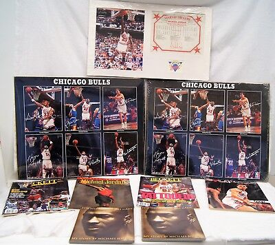 LOT OF 9 CHICAGO BULLS Items Featuring MICHAEL JORDAN, PIPPEN, & RODMAN A7037