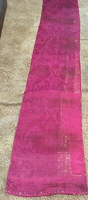 "18th C Silk/Linen Brocatelle Fabric 104"" x 21"""