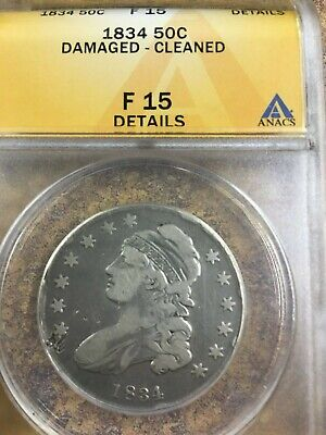 1834 Capped Bust  Half Dollar Silver Coin -ANACS F 15