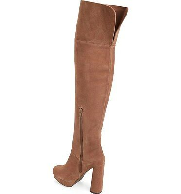 a63e267cb59 Jeffrey Campbell Destino Brown Suede Over the Knee Platform Boots SZ 8 NEW