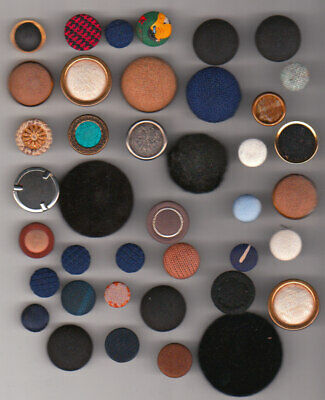40 FABRIC SEWING BUTTONS mix lot of material & METAL --- VINTAGE & ANTIQUE no 1