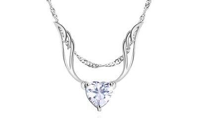 Guardian Angel Wing Necklace Made with Swarovski Crystal by Barzel