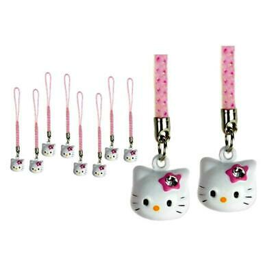 Lot Of 10 Hello Kitty Latón Campanula Charms Rosa Blanco Manualidades Móvil