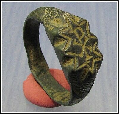 ** CHI-RHO **Ancient Bronze Legionary Roman Ring **AMAZING **