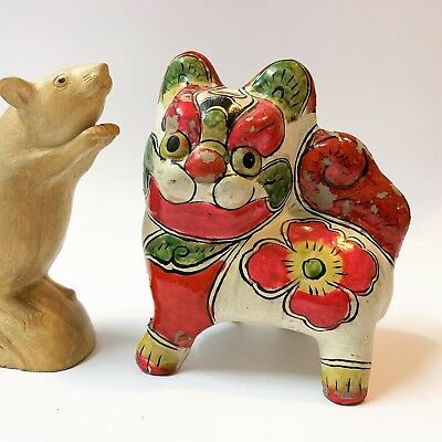 Old & Unusual Chinese Figurine - Brightly Lacquered Pottery Foo Dog - 13cm Tall