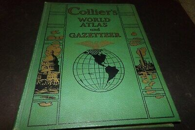 Vintage Collier's World Atlas and Gazetteer Buildings World Lakes Rivers 1942