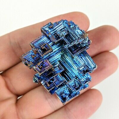 GEMCORE: One (1) Large Midnight-Blue Bismuth Crystal Mineral Specimen Education