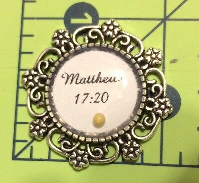 Scripture Charm Matthew 17:20 With Mustard Seed Silver Tone