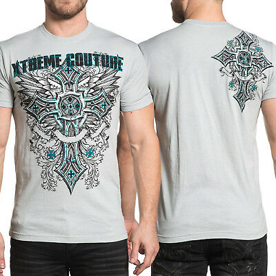 Xtreme Couture Point Celtic Cross Stained Glass Wings UFC MMA Mens T-Shirt Grey