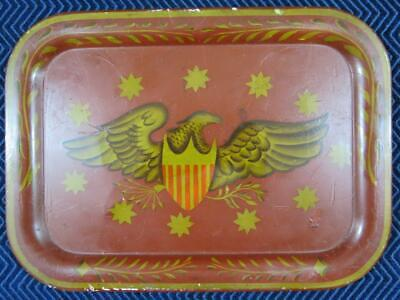 Vintage Folk Art Toleware Tray with Folk Art Eagle with Shield Painting  10 x 14