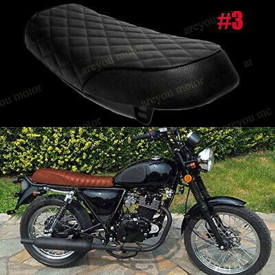 BLACK MOTORCYCLE LEATHER Seat Seating Custom for Cafe racer