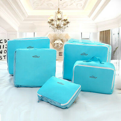 5Pcs Travel Organiser Pouches Storage Bags Packing Cubes Suitcase Luggage