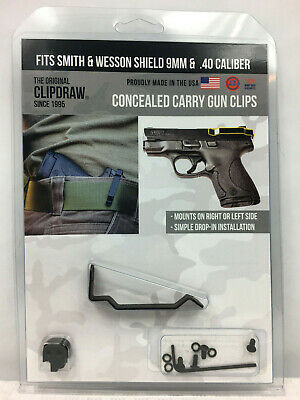 Clipdraw Belt Clip Smith & Wesson M&P Shield 9mm 40cal IWB Ambi Concealed Carry