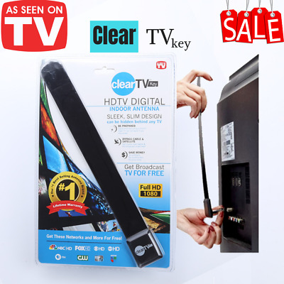 New As Seen on TV Clear TV Key HDTV FREE TV Digital Antenna Ditch Cable-1080p
