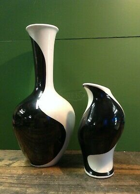 BRT Pair x 2 Mid Century Modern Vintage German Black White Ceramic Pottery Vases