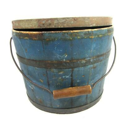 Antique 19thC LIDDED BUCKET BLUE PAINT AAFA Primitive/ Firkin/ Pail/ Pantry Box
