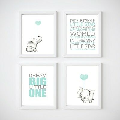 Elephant Nursery Room Decor, Kids Wall Prints, Blue, Pink, Mint, Twinkle Twinkle