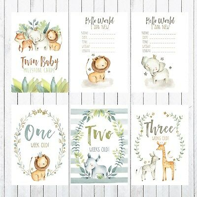 Twins Baby Milestone Cards, 4x6 Photo Prop, 38 cards, Safari, Jungle Animals
