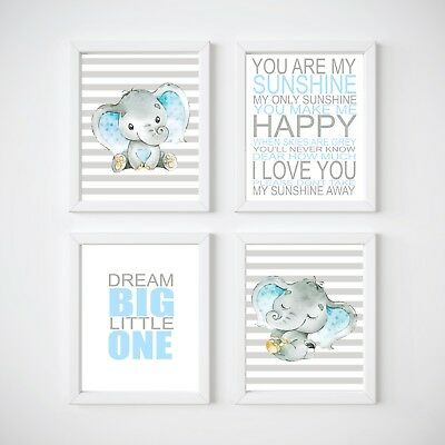 Elephant Nursery Room Decor, Kids Wall Prints, Blue or Pink