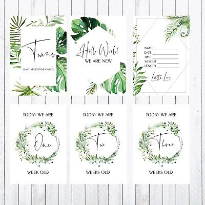 Twins Baby Milestone Cards, 4x6 Photo Prop, 34 Cards, green, leaves