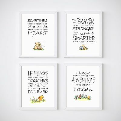 Winnie the Pooh Nursery Bedroom Decor Kids Wall Prints A5 or A4