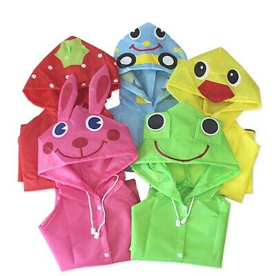 Children Boy Girl Kid Raincoat Rain Coat Rainwear Suit Poncho Cape Hooded Jacket