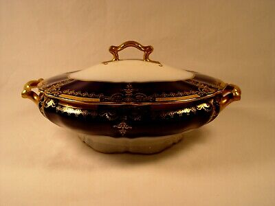 Vintage SAMPLE Syracuse OPCO China Covered Casserole MINT Blue & Gold