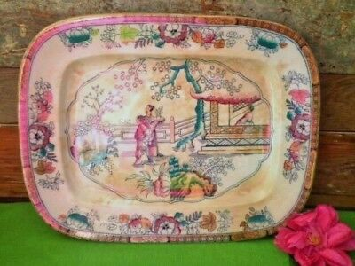 ANTIQUE PLATTER CHINOISERIE GILDEA & WALKER? CHINESE PAGODA TEA HOUSE see MORE