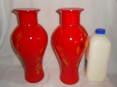 A Pair Of Vintage Double Glass Hand Blown Red Motley Vases