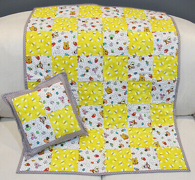 Winnie the Pooh Patchwork 100% Cotton Quilt Includes 12x12 Matching Pillow