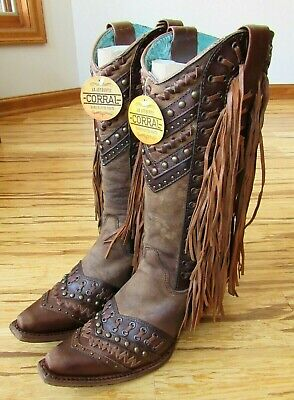 657a4455fc6 CORRAL LADIES SNIP Toe Brown/Tan Woven Details & Fringe Side Western ...