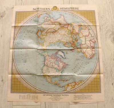 Vintage 1946 National Geographic large fold out map North Hemisphere