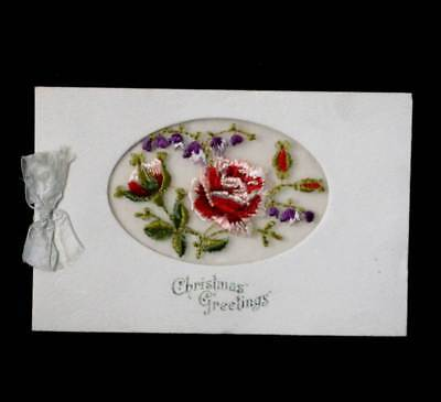Antique embroidered roses silk Christmas card made in France