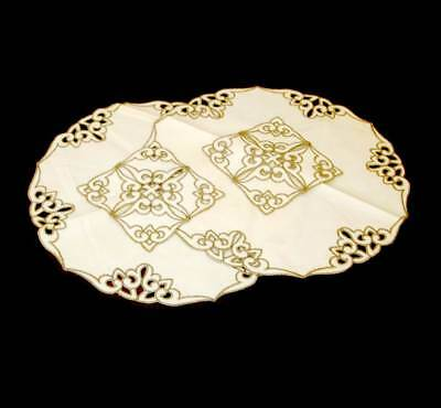 Vintage cream & beige embroidered pair of placemats & matching coasters