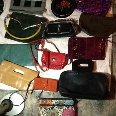 Unbranded or off brand lot of 13 sm/med sized faux/leather bags &wallet