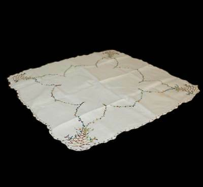 Vintage pretty hand embroidered square supper cloth with basket design 85cm