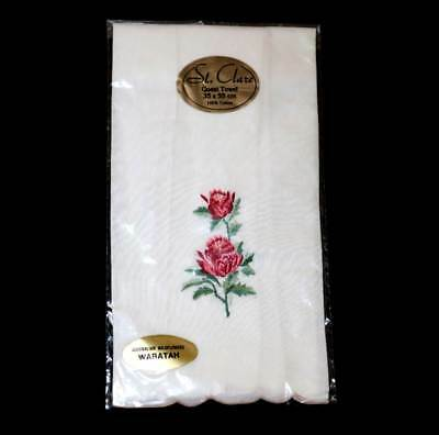 Vintage St Clare Guest Towel with waratah embroidery NEW 55cm