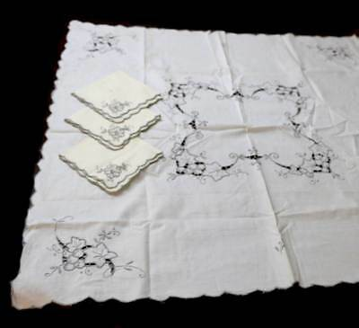Vintage square embroidered supper cloth and 3 matching napkins