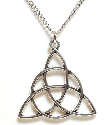 """CELTIC KNOT_Pendant on 20"""" Chain Necklace_Triquetra Irish Trinity Pagan_233N"""