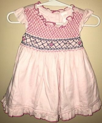 0f5dfb0c776e Baby Girls Pink Smocked Ruffled Dress First Impressions Size 6-9 Months