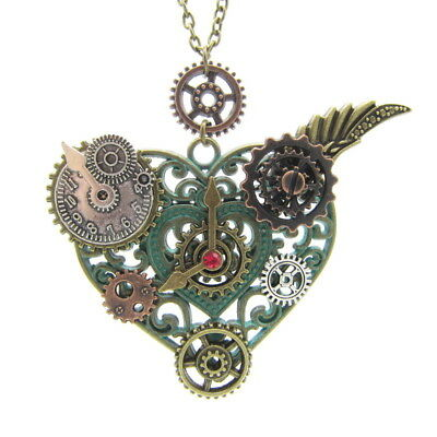 Steampunk Alloy Winged Gear Heart Gothic Punk Men Women Jewelry Necklace New